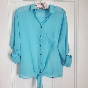 Garage Light Blue Sheer Buttondown